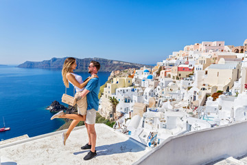 Young couple on island of Santorini Wall mural