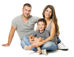 Family over White Background, Three People, Happy Parents with Child, Father Mother and Son, Isolated