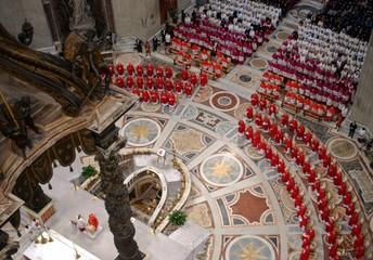 "Cardinals attend the ""Pro Eligendo Papa"" Mass, presided over by German Cardinal Joseph ..."