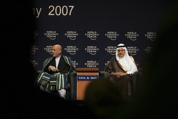 Saudi Arabia's Prince al-Faisal and Afghanistan's President Karzai attend second day of WEF at the King Hussein Convention Centre at the Dead Sea