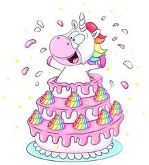 Niedliches Einhorn springt aus Torte Vektor Illustration
