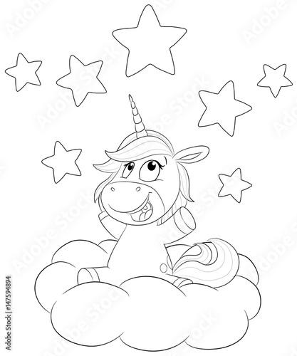Niedliches Einhorn Mit Sternen Auf Wolke Vektor Illustration