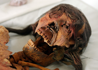 Photo shows the face of a mummy from ancient Moche culture that was discovered in Trujillo