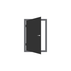 Door vector icon. Exit icon. Open door illustration.