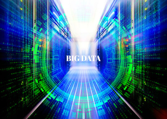 fantastic symmetric data center room with a binary code penetration servers covered big data concept graphics
