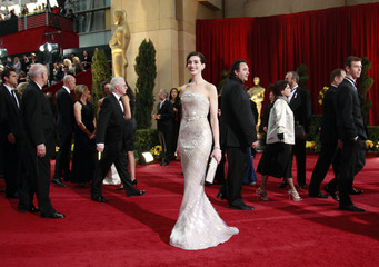 "Anne Hathaway, best actress nominee for ""Rachel Getting Married,"" reacts on red carpet at 81st Academy Awards in Hollywood"