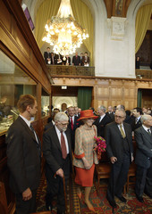 Dutch Queen Beatrix walks into courtroom of ICJ during celebration of 60th anniversary of ICJ in The Hague