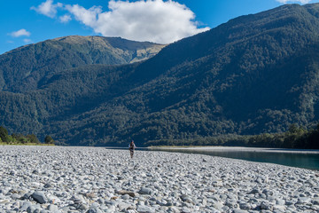 Haast River near Roaring Billy Falls,Located in Mt Aspiring National Park, along Haast pass Highway on the West Coast of New Zealand South Island