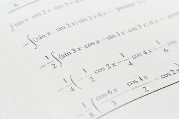 Closeup of math book