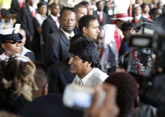 Bolivian President Evo Moraels arrives at the 5th Summit of the Americas in Port of Spain