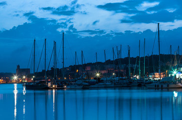 Marina during morning blue hour