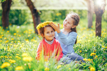beautiful blue-eyed girl wears a wreath of dandelions to her sister on the head