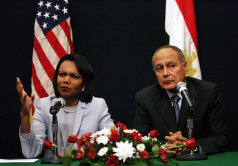 US Secretary of State Rice speaks during news conference with Egyptian FM Abou el-Gheit at Foreign Ministry in Cairo