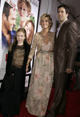 Jane Fonda arrives with son and step grand daughter at the premiere of Monster in Law.