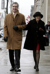 Liberal MP Ignatieff arrives to a news conference with his wife Zsohar to announce his candidacy for the Liberal Party of Canada leadership at the National Press Theatre in Ottawa
