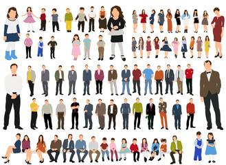 illustration, flat people, collection, girls men,