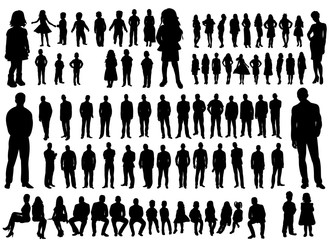 illustration, flat people, collection, girls men,