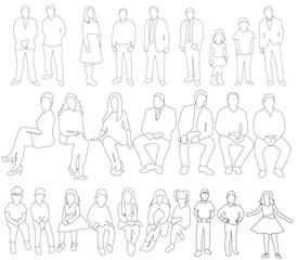 illustration, outlines of people, girls, men, children, people sketches