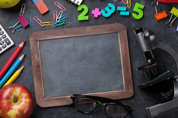 Supplies, apple and chalk board