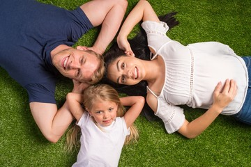 Family Laying In The Grass