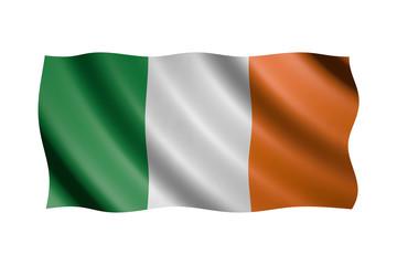 Flag of Ireland isolated on white, 3d illustration
