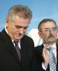 Serbian Radical Party leader Nikolic reacts after Tadics victory in Belgrade