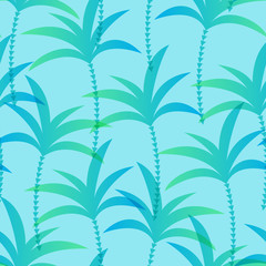 Seamless pattern of palm trees on blue background