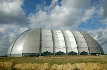 A panoramic view shows the vast airship hangar of the future Tropical Islands holiday resort near th..