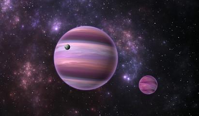 Extrasolar planet. Gas extrasolar planet with moon on background nebula, illustration