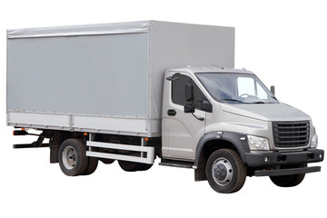 Modern truck with a grey tent isolated on white background.