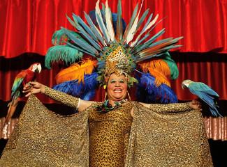 Transvestite member of the Chilean Timoteo Circus performs in Valparaiso.