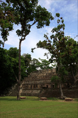 Pyramids Maya, National park Copan in Honduras, Central America, vacation trip to historical place