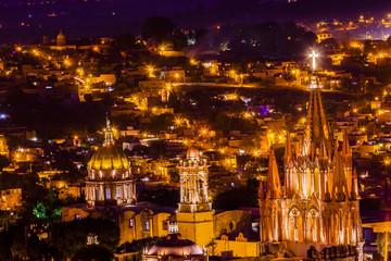 San Miguel de Allende Mexico Miramar Overlook Night Parroquia