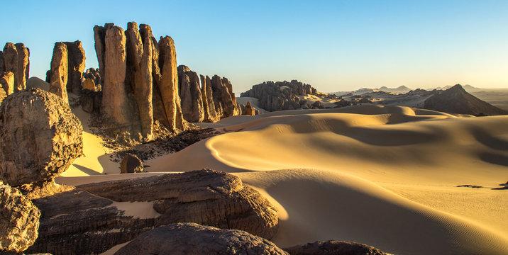 Sunset in the Rocky Algerian Desert -Tassili of Hoggar