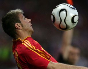 Spain's national soccer team player Sanchez controls the ball during their friendly soccer match against Croatia in Geneva