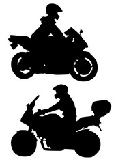 illustration, silhouette of a man on a motorcycle