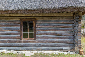 Window in old wooden rural house