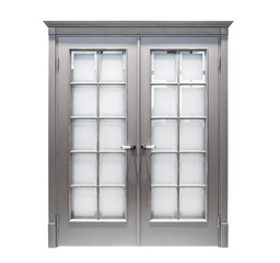 Grey wooden vintage door with glass windows isolated on white background