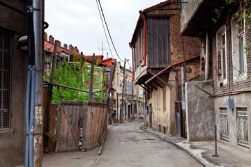 Neighborhood with old crumbling houses in Tbilisi, Georgia