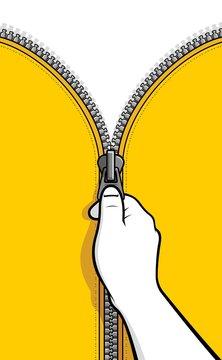 Hand unzip zipper
