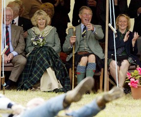 Britain's Prince Charles and Camilla Parker Bowles attend the Mey Highland Games in Caithness.