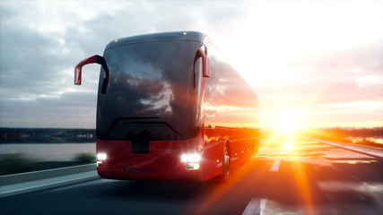 tourist red bus on the road, highway. Very fast driving. Touristic and travel concept. 3d rendering.