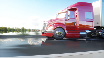semi trailer, Truck on the road, highway. Transports, logistics concept. 3d rendering.
