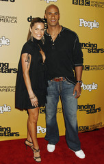 "Contestant Jason Taylor and wife at the ""Dancing with the Stars"" 100th show party in Hollywood"