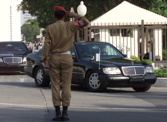 PAKISTAN'S MILITARY LEADER GENERAL PERVEZ MUSHARRAF LEAVES THE PRESIDENTIAL PALACE IN ISLAMABAD.