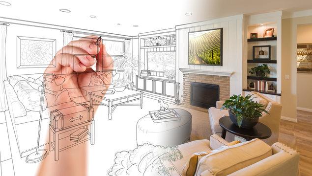 Hand Drawing Custom Livingroom Design With Gradation Revealing Photograph.