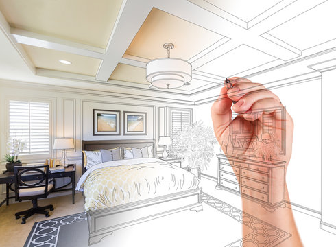 Architect Hand Drawing Custom Master Bedroom Design With Gradation Revealing Photograph.