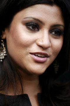 Bollywood actress Konkana Sen Sharma speaks during the launch of a new skin care product in Kolkata
