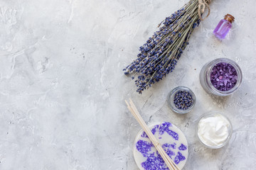 organic cosmetic with lavender oil on stone background top view mock up