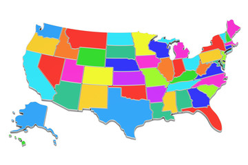 Colored United States of America map, 3D rendering